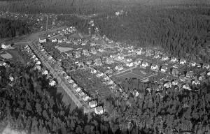 Flygfoto Trädgårdsstaden norrut.