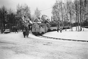 Linje 8, vändplan 1950, sista vintern.
