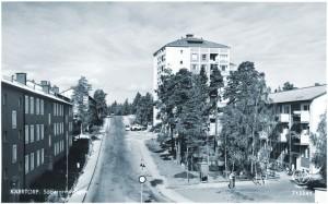 Söderarmsvägen norrut från Kärrtorpsvägen.